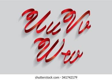 ribbon typography/font/typeface u,v,w vector
