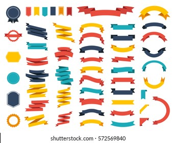 Ribbon vector icon set on white background. Banner isolated shapes illustration of gift and accessory. Christmas sticker and decoration for app and web. Label, badge and borders collection.