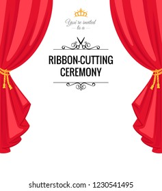 Ribbon-cutting ceremony poster with  red curtains. Vector illustration