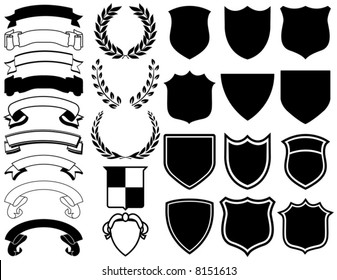 Ribbons, Banners, Laurels, and Shields. Mix and Match to create your own logo