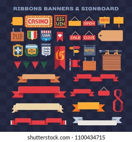 Ribbons, Banners and signboard pixel art icons set, casino, pub, emblem football team isolated vector illustration. Big Win sign. Pennant, label and speech bubble. 8-bit. Design for stickers, logo, app