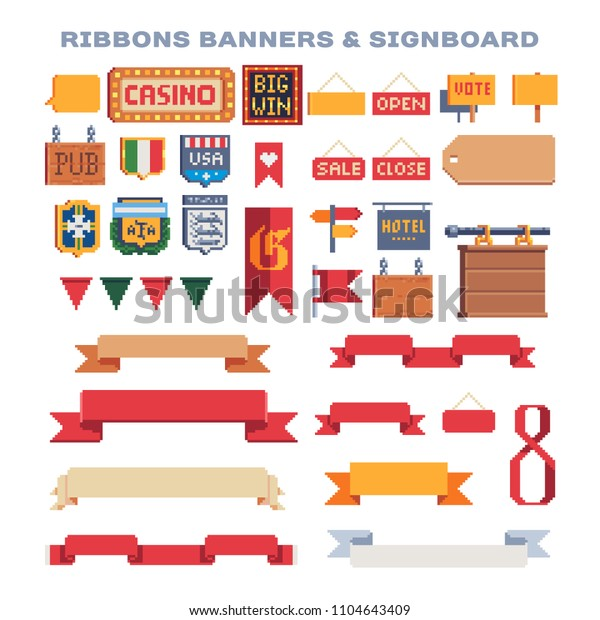 Ribbons Banners Signboard Pixel Art Icons Stock Vector