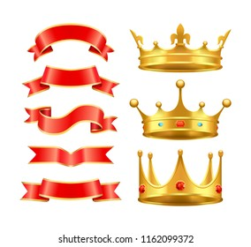 Ribbons banners stripes and crowns icons set. Crossed design element on coronets top. Diamonds and gemstones incrustated in corona isolated  vector