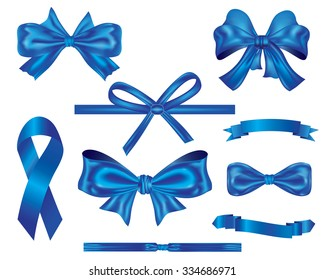 ribbons and bows Collection,set of blue luxury ribbons and bows vector for decoration and design