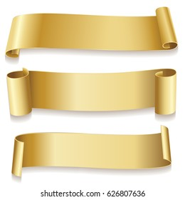 Ribbons golden isolated on white background. Holidays icon. Vector illustration.