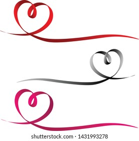 ribbons in heart shape. Valentines day Or Medical Concept/ white background
