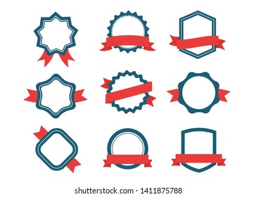 Ribbons and labels. Design elements, red and blue. Set of emblem, sticker and badges stock vector illustration.