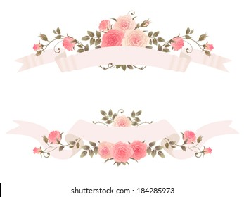 Ribbons with roses isolated on a white background. Beautiful floral vector design elements with ribbons and climbing roses.