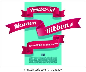 Ribbons set collection. Pink, maroon, red or scarlet color On blue background design vector elements.