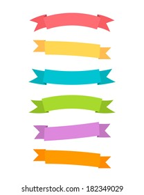 Ribbons set. Modern flat style and colors. Vector illustration.