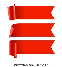 Ribbons set. Realistic Red Glossy paper ribbon. Vector illustration