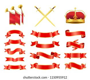 Ribbons and swords set. Red flag banners with trumpets musical instrument and sabre having handle. Coronet and crown royal items isolated on vector