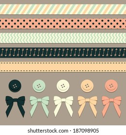 Ribbons Vector Set With Buttons and Bows