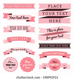 Ribbons vintage vector set in light and dark pink and brown colors