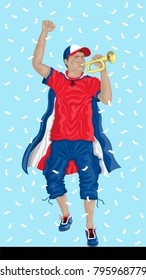 """""""Costa Rica Soccer Fan with Bugle"""" Costa Rican supporter, confetti papers and background are in different layers."""