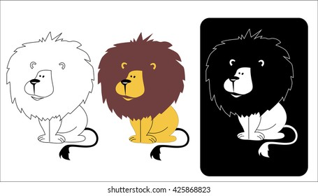 Ricardo lion, vector image of a lion, sitting lion logo lion, small lion, good lion, the mane of a lion, cartoon lion