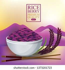 Rice berry. Rice Bowl and chopstick. Vector illustration.