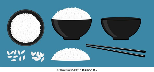 Rice in a bowl with chopstick isolated on blue background vector illustration. Set of beautiful cartoon food icons.
