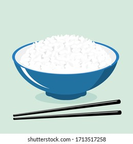 Rice bowl and chopsticks icon isolated on blue background vector illustration. Cute cartoon food for restaurant.