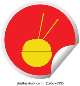 Rice bowl circular peeling sticker vector illustration - Shutterstock ID 1166876335