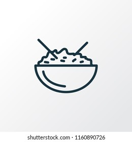 Rice bowl icon line symbol. Premium quality isolated japan food element in trendy style.