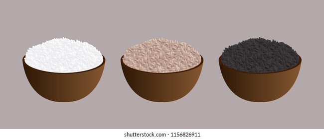 Rice bowl icon set. Black, White and Black rice bowls. Vector.