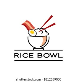 Rice Bowl Logo with Chop Stick Vector for Fresh Meal Industry Healthy Food Modern Design Icon Template