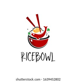 rice bowl logo with chopstick, fish and fried egg vector for restaurant industry