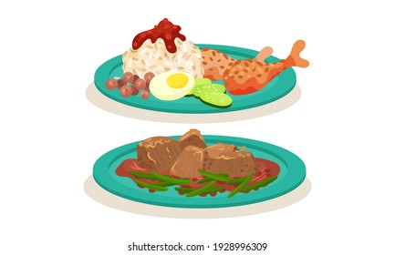Rice with Chicken Legs and Meat Gravy as Malaysian Cuisine Dishes Served on Plate Vector Set