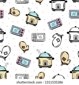 rice cooker, microwave, oven, glove patterns hand drawn doodle. Kitchen set background