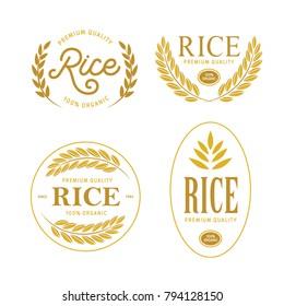 Rice emblems labels badges set. Golden logotypes collection for packaging advertising. Vector vintage illustration.