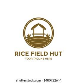 Rice Field Hut Logo Symbol. Farmers Hut Icon Silhouette Simple.