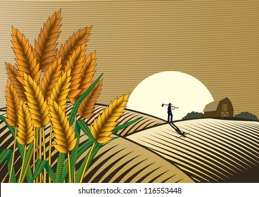 Rice field with a man walking at sunset. Woodcut