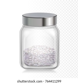 Rice in glass jar, Vector realistic illustration