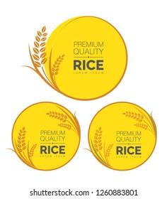 Rice, Rice Grain, Premium Quality Organic Rice Banner Set Vector Illustration