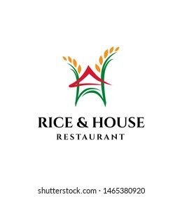 Rice and house asian restaurant logo design inspiration