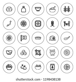 Rice icon set. collection of 25 outline rice icons with bowl, chow mein, dumpling, crop, kappa, grain, japan, rice, rye, sack, takoyaki, sushi, salad icons. editable icons.