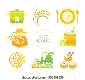 rice icon set. flat decorative symbols on white background.