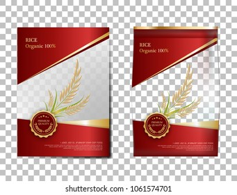 Rice Package Thailand food Products, red gold banner and poster template vector design rice.