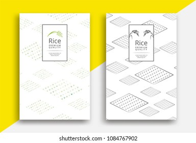 Rice packaging template with field pattern. Vector illustration