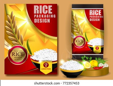 Rice Packaging, Thailand food Logo Products and Fabric Background Thai frame Arts, banner and poster template design rice food.Golden template and rice design