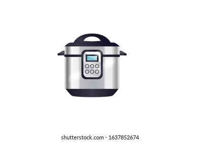 Rice pan electric cooker vector illustration kitchen appliance