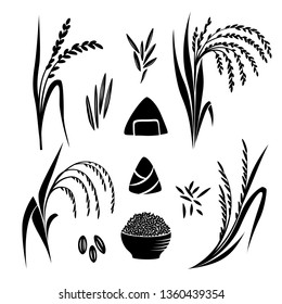 Rice plant and grane collection, Vector isolated silhouettes for design. Onigiri and bowl.