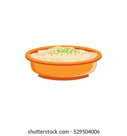 Rice Pudding In Bowl. Supplemental Baby Food Products Allowed For First  Feeding Of Small Child. Cartoon Illustration