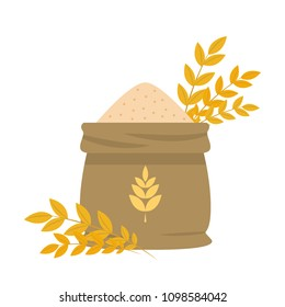 Rice sack cartoon vector. free space for text. wallpaper. background. symbol vector.