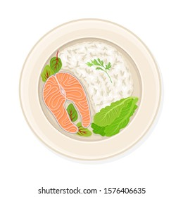 Rice With Salmon and Lettuce Leaves Served on Plate