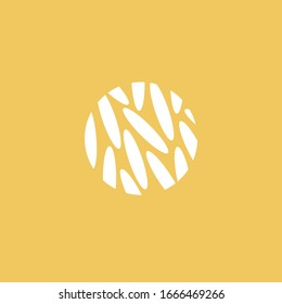 Rice seed logo Circle cereal sign Round grain icon Oat line illustration Eco vector template Abstract crop symbol Minimal organic element Food concept vector template Modern plant emblem Flat design