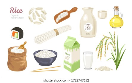 Rice set. Grains icons, bag with flour, ear, cooked rice in bowl, sushi roll, bottle with oil or vinegar, sake, milk in box and glass, noodles, rice in wooden scoop. Cartoon flat vector illustration.
