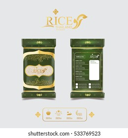 Rice Style Thailand Product Design Packaging Template and Background Concept.