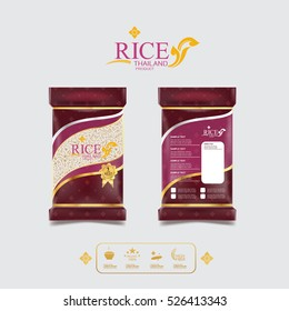 Rice Thailand food Logo Product and Background Thai Arts.